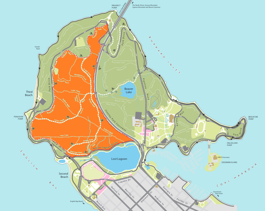 Stanley Park Invasive Plants - map of my responsibility for clearing of invasive plants